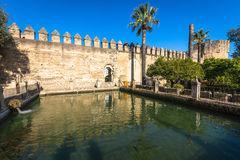 The famous Alcazar with beautiful garden in Cordoba, Spain Royalty Free Stock Images