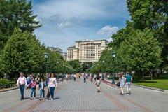 The famous Alexander Garden near the walls of the Moscow Kremlin stock photos