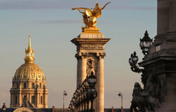The famous Alexandre III bridge , Paris, France. Royalty Free Stock Photos