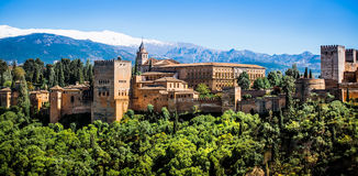 Famous Alhambra in Granada. View of the famous Alhambra, Granada in Spain Royalty Free Stock Photos