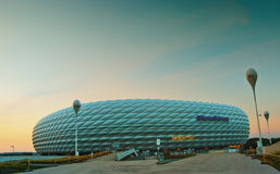 Allianz Arena at night. The famous Allianz Arena stadium at night, blue lit at dusk royalty free stock photo