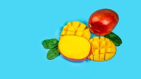 Famous Alphonso mango slices blue background, Top view. copy space text stock photos
