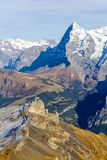 The famous Alps mountain Peak Eiger. View from the Schlithorn with Birg station in foreground, Switzerland Stock Photos