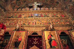 The famous altar of Voronet Monastery, Romania Stock Photo