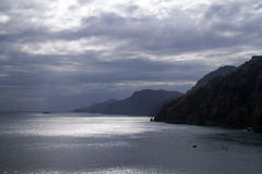 Famous Amalfi Coast before a storm stock image