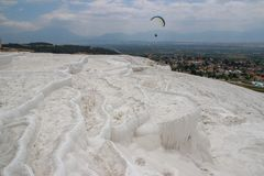 Famous and amazing thermal springs Pamukkale or Cotton Castle on Denizli Province in Turkey royalty free stock photos