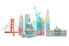 Famous American landmarks travel and tourism waercolor illustration Stock Photos