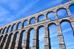 The famous ancient aqueduct in Segovia. Royalty Free Stock Image