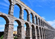 The famous ancient aqueduct in Segovia. Royalty Free Stock Images