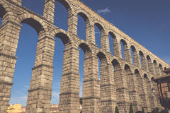 The famous ancient aqueduct in Segovia, Castilla y Leon, Spain Royalty Free Stock Photos