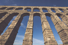 The famous ancient aqueduct in Segovia, Castilla y Leon, Spain Royalty Free Stock Photo
