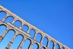 The famous ancient aqueduct in Segovia. Royalty Free Stock Photo