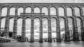 Famous ancient aqueduct in Segovia, Castilla y Leon, Spain Stock Photo