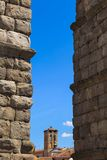 The famous ancient aqueduct in Segovia Stock Photo