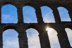 The famous ancient aqueduct in Segovia Stock Images