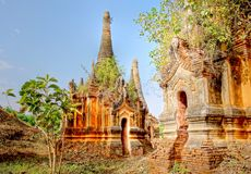 The famous ancient ruin temples of Indein in Myanm Royalty Free Stock Photos