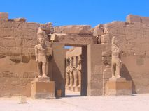 Famous Ancient Ruins Of Karnak Temple In Luxor, Egypt. Entrance To The Temple. Royalty Free Stock Photos