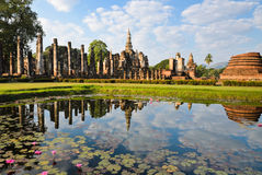 Famous ancient ruins temple in Sukhothai, Thailand Royalty Free Stock Image