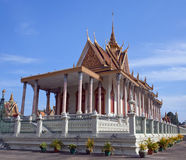 Famous ancient Silver Pagoda in Phnom Penh, Cambodia. Silver Pagoda in Phnom Penh, Cambodia. Iit was known as Wat Ubosoth Ratanaram. The temple`s official name royalty free stock images