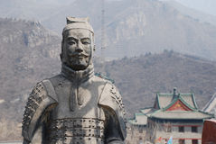 Famous ancient soldiers on Great Wall(China). Famous sculpture of ancient terracotta soldiers on Great Wall(China royalty free stock photo