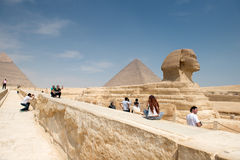 Famous ancient statue of Sphinx in Giza Royalty Free Stock Photo