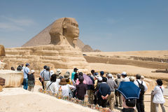 Famous ancient statue of Sphinx in Giza Stock Images