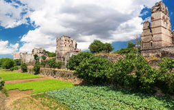 Famous ancient walls of Constantinople in Istanbul Royalty Free Stock Image