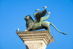The famous ancient winged lion sculpture in central Venice Stock Photography