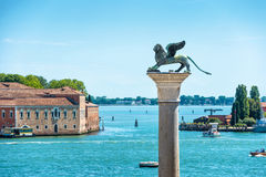 The famous ancient winged lion sculpture in Venice, Italy Stock Image