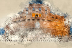 The famous Angels Castle in Rome - Castel Sant Angelo. Illustration Stock Images