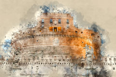 The famous Angels Castle in Rome - Castel Sant Angelo. Illustration Royalty Free Stock Photo