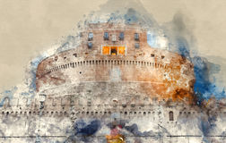 The famous Angels Castle in Rome - Castel Sant Angelo. Illustration Stock Photos