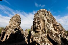 Famous Angkor Wat head statues Stock Image