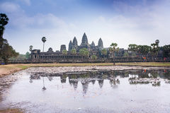 Famous Angkor Wat temple complex  near Siem Reap in Cambodia Royalty Free Stock Photo