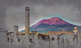 The famous antique site of Pompeii, near Naples. Stock Photos