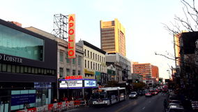 Famous Apollo Theatre in Harlem New York USA cityscapes. Famous Apollo Theatre in Harlem New York United States cityscapes videoclip stock footage