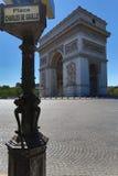 Famous Arc de Triomphe in Paris, France. PARIS - AUGUST 17 2016: Arc de triomphe on May 30, 2011 in Place du Carrousel, Paris, France. The monument to Napoleonic Royalty Free Stock Photography
