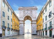 Famous arch at the Praca do Comercio, Lisbon, Portugal Stock Photography