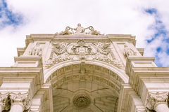 Famous arch at the Praca do Comercio in Lisbon Portugal Royalty Free Stock Images
