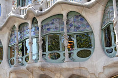 The famous architect Gaudì  treated rooftop chimneys like pieces of art on the rooftop of the house Casa Batllo on Barcelona Stock Images