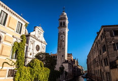 Famous architectural monuments and colorful facades of old medieval buildings close-up n Venice, Italy. VENICE, ITALY - AUGUST 17, 2016: Famous architectural Stock Photography