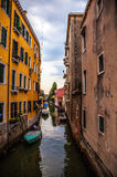 Famous architectural monuments and colorful facades of old medieval buildings close-up n Venice, Italy. Stock Photo