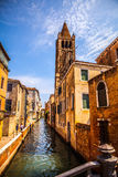 Famous architectural monuments and colorful facades of old medieval buildings close-up n Venice, Italy. Stock Image