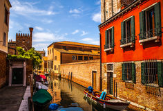 Famous architectural monuments and colorful facades of old medieval buildings close-up n Venice, Italy. Royalty Free Stock Photography