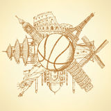 Famous architecture buildings around basketball ball Stock Image