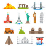 Famous architecture world travel vector landmarks icons Royalty Free Stock Photos