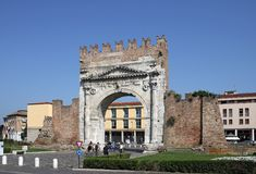 Famous Arco di Augusto gate Rimini. Italy Stock Photo