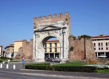 Famous Arco di Augusto Rimini. Italy Royalty Free Stock Photos