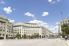 Famous  Aristotelous square in Thessaloniki, Greece - may 2013 stock images