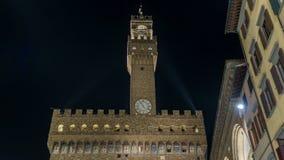 Famous Arnolfo tower of Palazzo Vecchio timelapse on the Piazza della Signoria at twilight in Florence, Tuscany, Italy. Famous Arnolfo tower of Palazzo Vecchio stock video